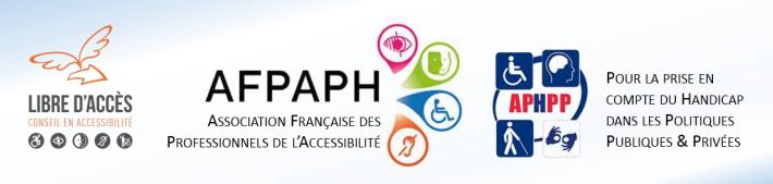"""Bandeau Webinaire """"Accessibilité pour Tous & Décision Publique: Quels sont les Obstacles ? » avec les logos de libre d'accès, de la AFPAPH et APHPP"""